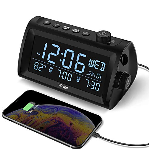 Welgo G2 Digital Dual Alarm Clock Radio with Weekday/Weekend Mode, Date/Temperature Display, 0-100% Dimmer, 7 Alarm Sounds, FM Radio with Sleep Timer, Adjustable Volume, Dual USB Ports, Battery Backup