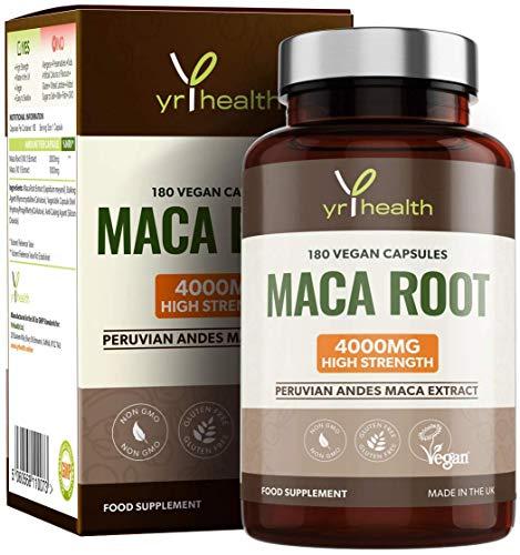 Vegan Maca wortel capsules 4000 mg extract - 180 hoge sterkte puruvian Maca wortel capsules - gemaakt in het Verenigd Koninkrijk