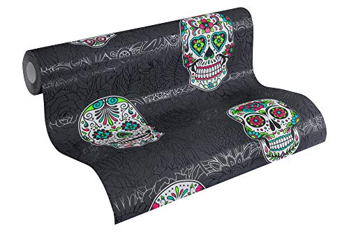 A.S. Création Vliestapete Club Tropicana Tapete mit Sugar Skulls 10,05 m x 0,53 m bunt metallic schwarz Made in Germany 358173 35817-3