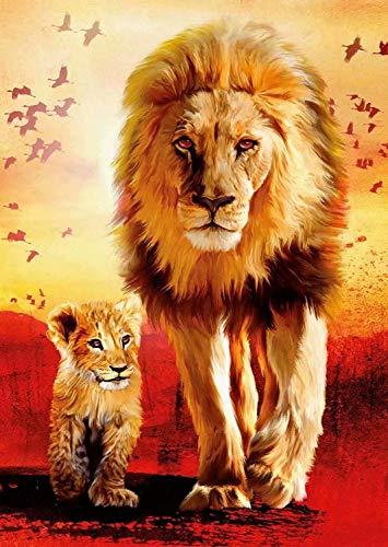 TAHEAT DIY pintura al óleo por números animales, lienzo pintura al óleo león padre e hijo para adultos pintura por números sin marco 16 x 20 pulgadas