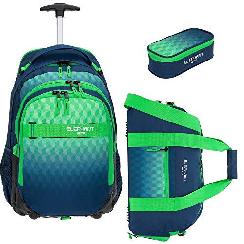 3 Teile Set: Trolley Elephant Hero Signature Schultrolley Trolly Sporttasche Mäppchen (Cube Green Blue)