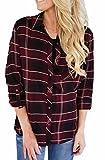 Grace Elbe Women's Collared Cuffed Sleeve Plaid Flannel Shirt Burgundy Medium