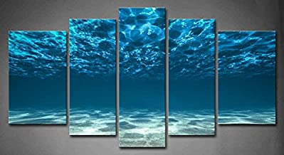 5 Panel Wall Art Blue Ocean Bottom View Beneath Surface Painting The Picture Print On Canvas Seascape Pictures for Home Decor Decoration Gift Piece (Stretched by Wooden Frame,Ready to Hang)