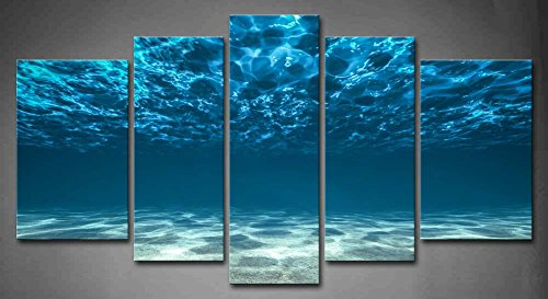 5 Panel Wall Art Blue Ocean Bottom View Beneath Surface Painting The...