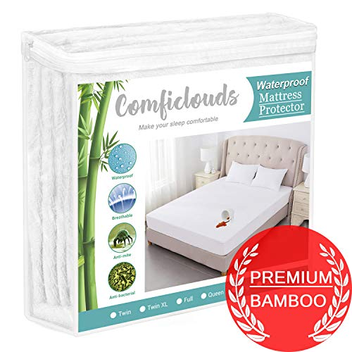 Queen Size Cooling Hypoallergenic Waterproof Mattress Protector Pad Cover,Bamboo Terry Top Breathable Fitted Sheet Style Deep Pocket-Noiseless,Vinyl,PVC Free