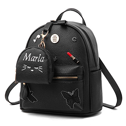 Flada niñas mochila PU cuero escuela bolsas mochila lindo Bookbag monedero con pequeña cartera de gato negro