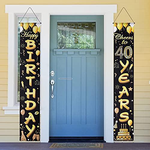 40 cumpleaños Party Decoraciones Hombres Mujeres Negro y Oro 40. Decoración de cumpleaños Pancarta de 40 años, cartel de bienvenida para 40 cumpleaños