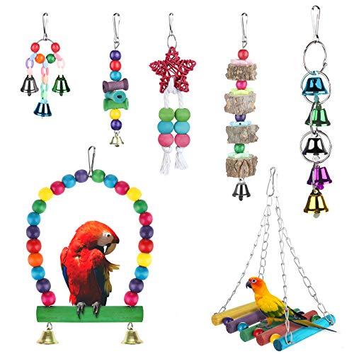 Zacro 7pcs Juguetes de Loro Pájaro, Juguetes para Pájaros Juguete Colgante para Mascotas con Campanas,Columpios,Juguete de Masticación para Pequeños y Medianos Loros de Aves, Periquitos, Pinzones