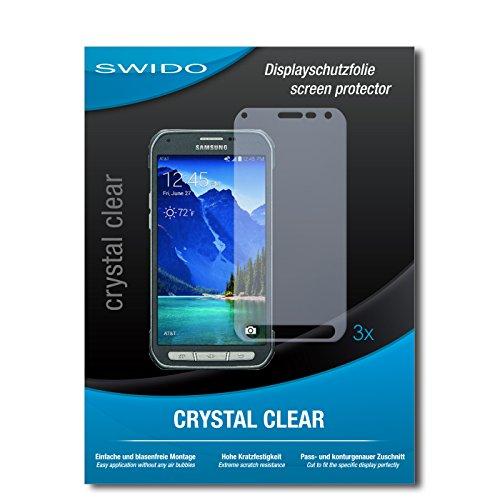 SWIDO Bildschirmschutzfolie für Samsung Galaxy S6 Active [3 Stück] Kristall-Klar, Extrem Kratzfest, Schutz vor Öl, Staub & Kratzer/Glasfolie, Bildschirmschutz, Schutzfolie, Panzerfolie