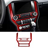 Real Carbon Fiber Dashboard Center Console Air Conditioner Multi-Media CD GPS Control Panel Trim Cover Stickers for Ford Mustang 2015 2016 2017 2018 2019 Accessories (5 Pieces Red)