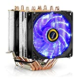 CPU Cooler, 6 Heatpipes 4 Pin 90mm PC Air Cooler CPU Fan Radiator for Intel & AMD Easy Installation 775 115x 1366 2011 AM2 + AM3 + AM4