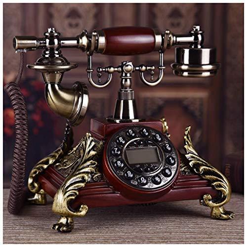 Sxrdz Teléfono retro Teléfono Vintage EUROPEO MAHOGANY Single Bell Double Bell Phone Manos libres de llamadas Identificación de la oficina Teléfono de casa Moda Cuerda de tela de teléfono fija fija fi