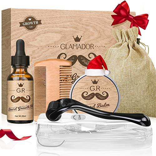 Kit de Crecimiento Barba-GLAMADOR Kit Cuidado Barba-Serum Activador de Crecimiento,Rodillo de Barba,Balsamo Barba,Peine -Rápido Crecimiento de la Barba,Mejor Regalo Para Hombres