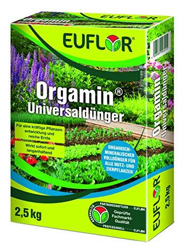 Euflor Orgamin® Universaldünger 2,5 kg Faltschachtel • milder, wirkungsvoller, chloridarmer Pflanzendünger mit hoher organischer Substanz • für alle Gartenkulturen, aktiviert das Bodenleben