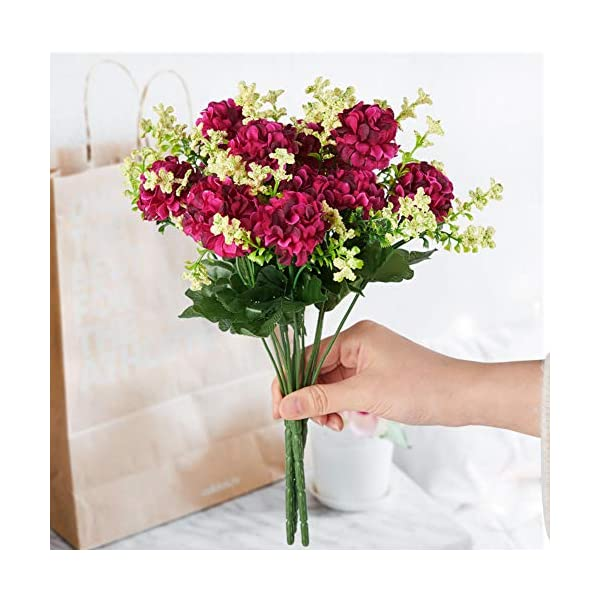 FSALS Hydrangeas Artificial Flowers 4 Bouquets 5 Heads Mini Fake Silk Ball Daisy Flower with Plastic Stem for Indoor Outdoor Home Wedding Banquet Decoration…