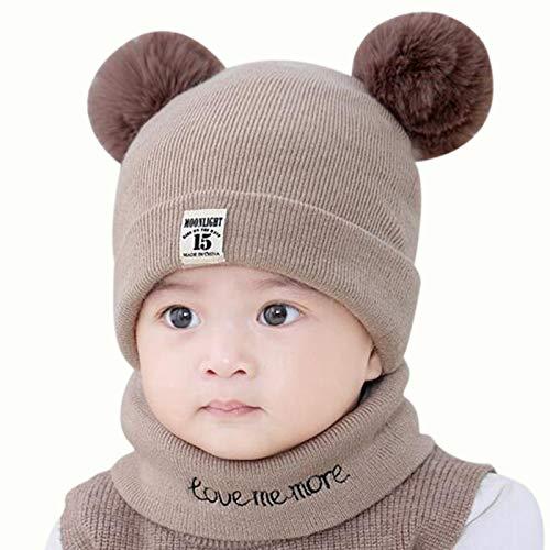Homeriy Niño Niños Niña Niño Bebé Infantil Invierno Crochet Knit Hat Beanie Cap Scarf Set