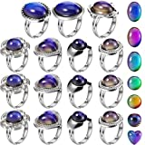 15 Pieces Adjustable Mood Rings for Girls and Boys...