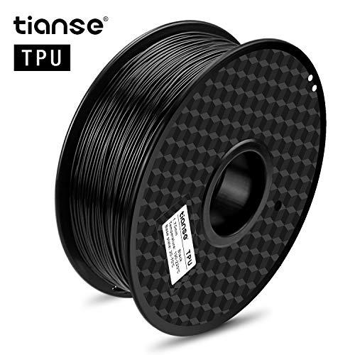 TIANSE Filamento de TPU para la Impresora 3D/Pluma 3D, 1 kg 1,75 mm (Negro)