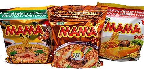 MAMA Ramen Style Instant Oriental Noodles Variety 30 Pack, Chicken, Pork, Creamy Shrimp