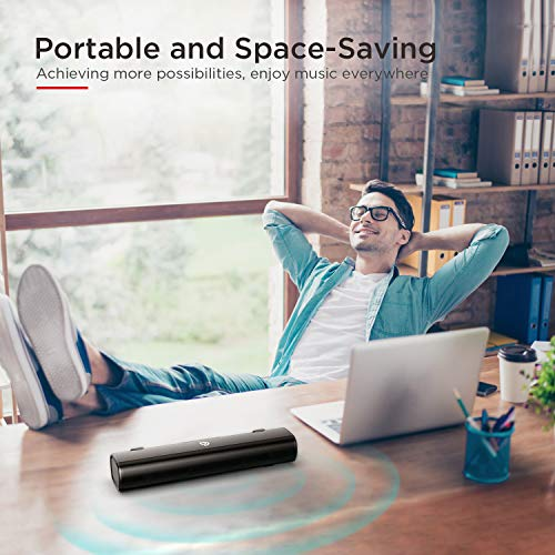Soundbar, Bomaker 16-Inch 2.0 TV and Computer Speaker with 105dB, 3D Surround Sound, Wireless Bluetooth 5.0, 3 EQ Modes, Optical, RCA Cable Included, for PC TV Cellphone Desktop Computer Tablets Laptop