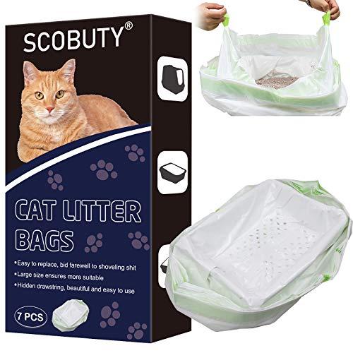 Bolsas de Basura Gatos,Bolsas para Bandeja Higiénica Gatos,Bolsas de Arena para Gatos,Bolsa de Arena para Gatos con Orificios para Filtros y Cordón Oculto (7 Piezas)