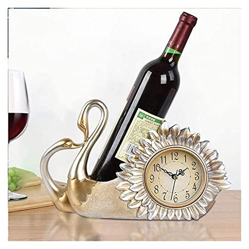 HGJINFANF Diseño de primera clase, esencial para el hogar estante de vino decoración estante de vino decoración mesa reloj botella estante vino europeo asiento reloj relojes de pared