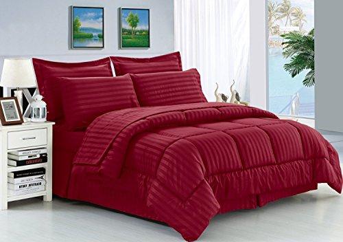 Elegant Comodidad Resistente a Las Arrugas–Sedoso Suave Dobby Stripe Bed-in-a-Bag 8Piezas Comforter Set–-Hypoallergenic–King Burdeos