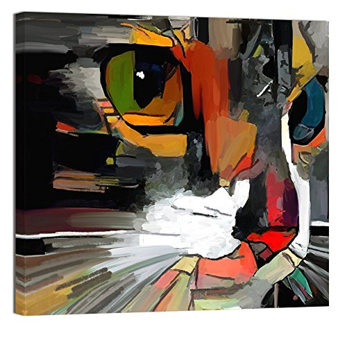 """Welmeco Modern Animals Artwork Decor Abstract Colorful Cat Painting Giclee Prints Gallery Wrap Ready to Hang for Cat Lovers Home Bedroom Living Room Pet Shop Decoration (01 Cat, 20""""x20"""")"""