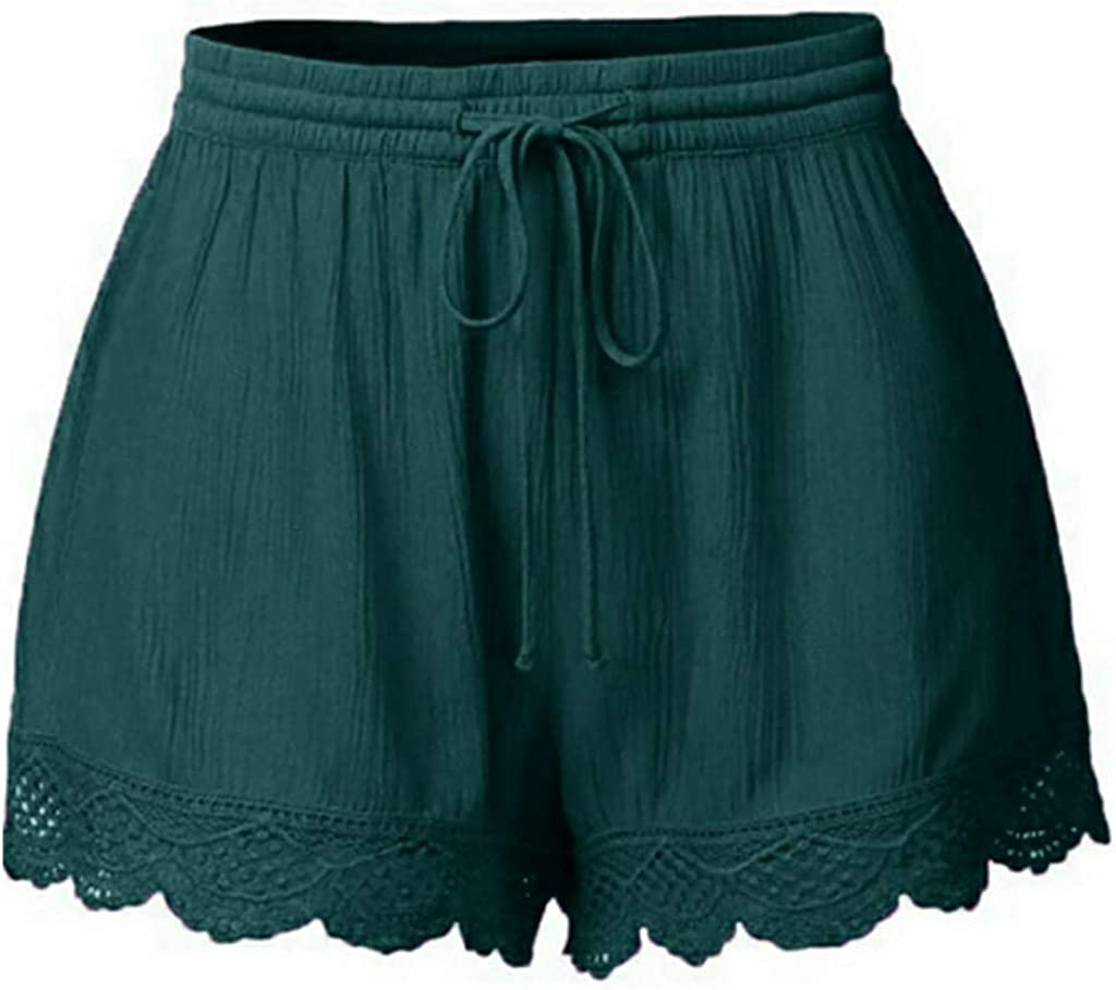 NREALY Pantalones Cortos Womens Fashion Lace Plus Size Rope Tie Shorts Yoga Sport Pants Leggings Trousers