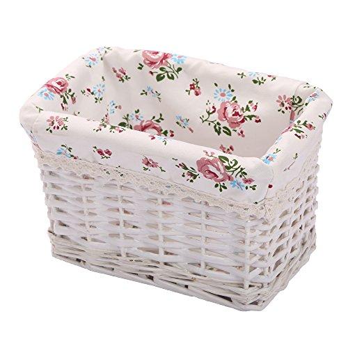 KINGWILLOW Woven Rectangular Wicker Storage BasketSmall Organizer Box
