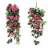 joyrolly ghirlanda di rose artificiali piante finte fiori di seta vite appese decorazione per casa hotel ufficio matrimonio festa giardino arte artigianale - bianco rose
