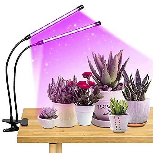 Planta crece la luz para la planta creciente luz de doble cabeza 20w 40leds espectro completo con encendido/apagado automático 3/9/12h temporizador, 9 regulable..