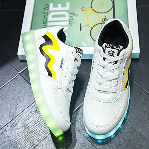 Gettop Unisex Zapatillas LED para con 7 Colores Luces,35-44 USB Carga Zapatos De Deporte del Zapato por De Deporte con Cordones Calzado Deportivo para Caminar Planos(Blanco,Negro)