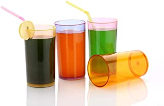 Enerex Unbreakable Transparent Drinking Plastic Glass for Juice, Water, Soft Drinks, Whiskey Glass, Mocktail Set Organizer...