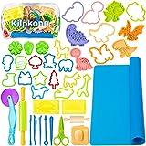 Juego de herramientas para masa para niños, 41 piezas de moldes de accesorios de masa, forma, tijeras, tapete de masa de juegos con bolsa de almacenamiento, set de fiesta para niños pequeños y niñas