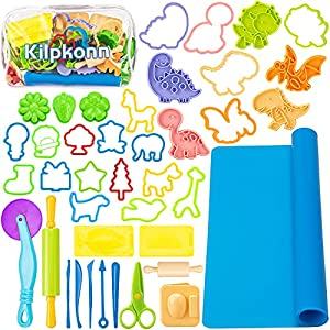 Play Dough Tool Kit For Kids, 41Pcs Dough Accessories Molds, Shape, Scissors, Rolling Pin, Playdough Mat with Storage Bag, Party Pack Playset For Toddlers Girls Boys