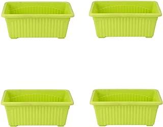 Meded Garden Essential Plastic Jupitor Planter Pots (Rectangular 35 x 18cm,Green, Pack of 4)