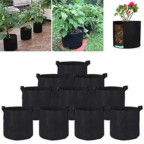 1-30 Gallone Grow Bag Borsa Per Piantare Con Manico Piantina Per Piante Grow Bags Vaso Adatto Per La Cura Dei Bambini Orto Domestico Verdure 5 galloni / 10 pezzi