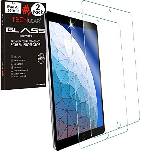 TECHGEAR 2 Pack of GLASS Edition Screen Protectors for iPad Air 2019 / 3rd Generation, 10.5', Tempered Glass Screen Protector Cover [2.5D Edge] [9H Hardness] [Crystal Clarity] [Scratch-Resistant]