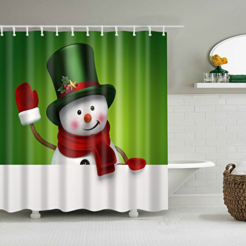 gwregdfbcv Green hat white cute snowman red scarf shower curtainBathroom accessories 180X180CM waterproof and mildew shower curtain