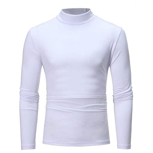 004554b29d6 UJUNAORTOP Men s Autumn Winter Striped Turtleneck Long Sleeve T-Shirt Top  Blouse