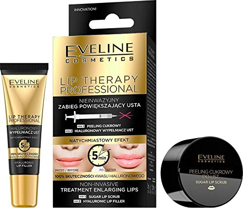 Eveline Cosmetics Lip Therapy Professional Non-invasive Lip Enralging Treatment 2in1, Sugar Lip Scrub 7ml abd Hyaluronic Lip Filler 12ml