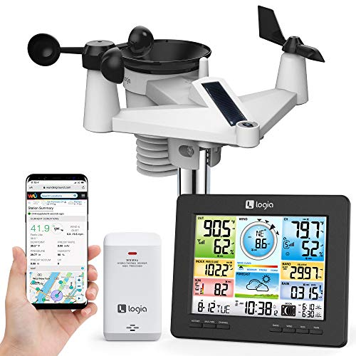 Logia 7-in-1 Wi-Fi Weather Station with Solar   Indoor/Outdoor Remote Monitoring System, Temperature Humidity Wind Speed/Direction Rain UV & More, Wireless Color Console w/Forecast Data, Alarm, Alerts