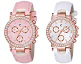 YOUTH CLUB Analog Girl's Watch (Pink & White Dial, Pink & White Colored Strap) (Pack of 2)