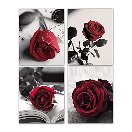 """Modern Black And White Photo Wall Art Red Rose Wall Art Paintings Set of 4 Rosy Floral Photo Decor for Bedroom Living Room Home Decor Gift Frameless (8""""X10"""" Canvas Picture)"""