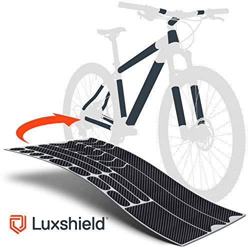 Luxshield Fahrrad Lackschutzfolie für Mountainbike, BMX, Rennrad, Trekkingrad etc. - 21-teiliges Rahmen-Set gegen Steinschlag - Carbon Optik & selbstklebend