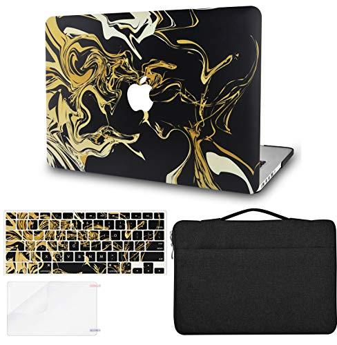 KECC Laptop Case for MacBook Pro 13' (2020/2019/2018/2017/2016, Touch Bar) w/Keyboard Cover + Sleeve Bag + Screen Protector (4 in 1 Bundle) Hard Shell A2159/A1989/A1706/A1708 (Black Gold)