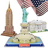 TOY Life 3D Puzzles for Adults and Kids US - Architectural Puzzles for Adults and Kids 3D Puzzle - New York Puzzle Statue of Liberty The White House Empire State Building for Kids Ages 4-6-8-10-12-14