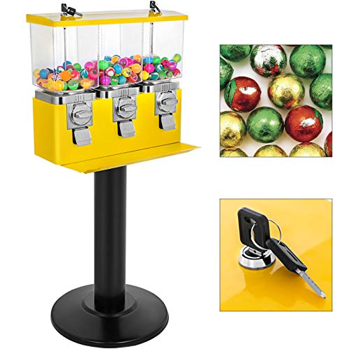 VBENLEM Triple Head Candy Vending Machine, 1-inch Gumball Vending Machine, Commercial Gumball Vending Machine with Stand and Adjustable Candy Outlet Size, Candy Vending Machine for Home, Gaming Stores