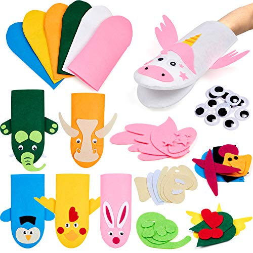 Tacobear Handpuppen Bastelset Kinder DIY Art Craft Set Filz Handpuppen Bastelmaterial Handwerk für Kinder Puppentheater und Rollenspiel